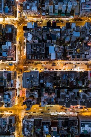 iPhone Wallpaper Hong Kong, city top view, buildings, street, night, lights