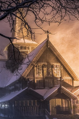 iPhone Fondos de pantalla Casa, nieve, noche, invierno