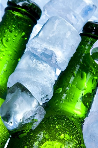iPhone Wallpaper Ice cubes, bottles, beer