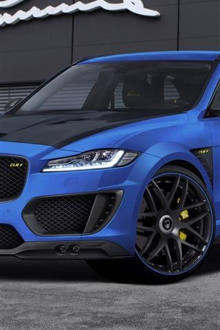iPhone Fondos de pantalla Coche azul Jaguar F-Pace CLR F