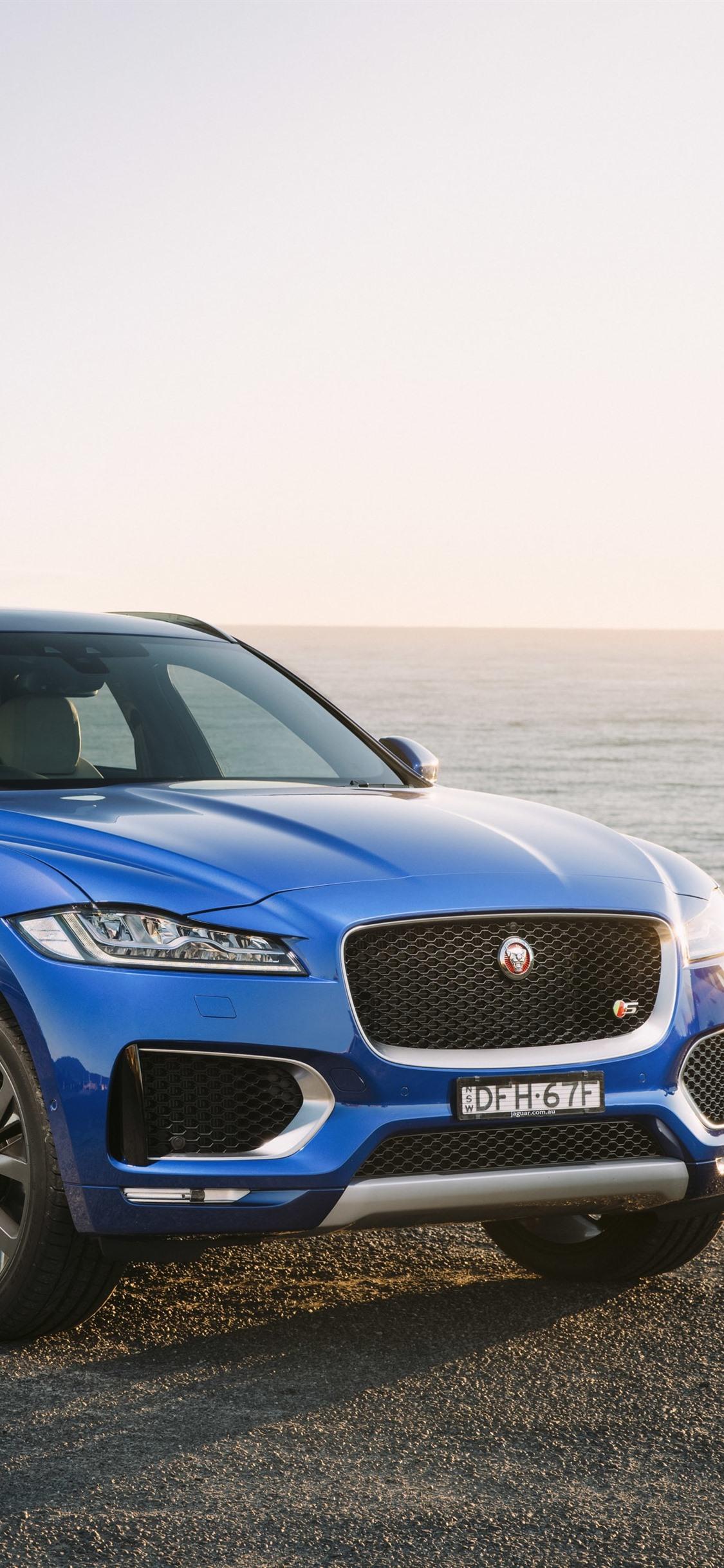 Jaguar F-Pace Blue SUV Car 1125x2436 IPhone XS/X Wallpaper