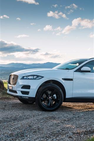 iPhone Fondos de pantalla Jaguar F-Pace blanco SUV vista lateral del coche