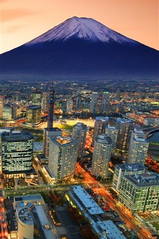 iPhone Wallpaper Japan, Fuji Mountain, city, skyscrapers, lights, dusk