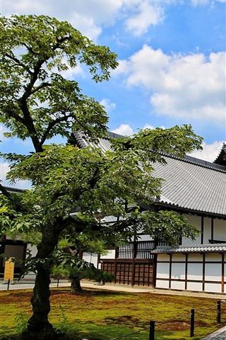 iPhone Fondos de pantalla Japón, Kyoto, Nagoya, casas, árboles