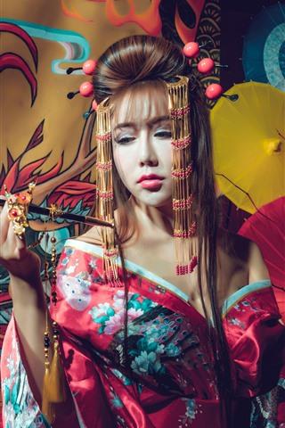 iPhone Wallpaper Japanese girl, kimono, smoke, umbrella