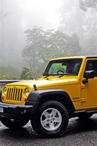 iPhone Fondos de pantalla Jeep Wrangler coche amarillo