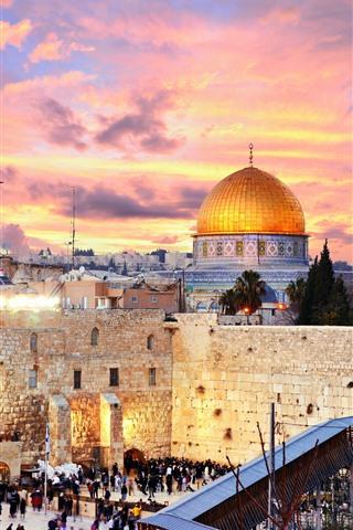 iPhone Wallpaper Jerusalem, Israel, city, buildings, church, street, people, night