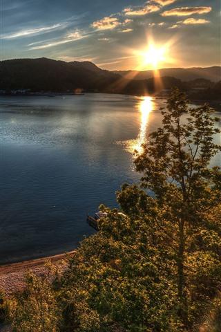 iPhone Wallpaper Lake, mountains, trees, sunrise