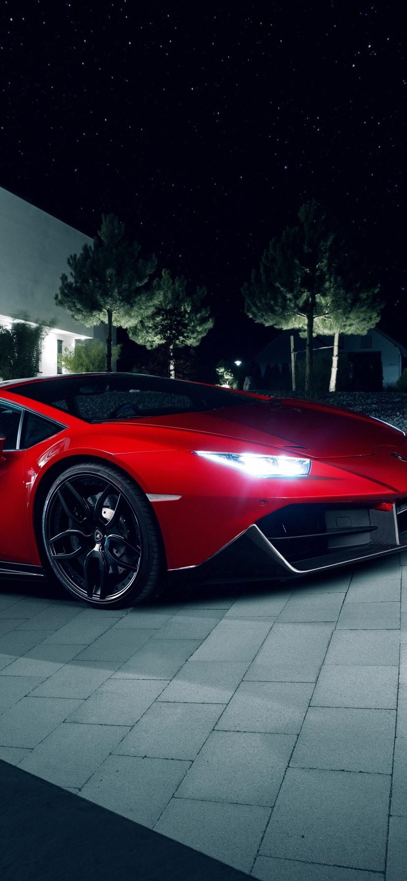 Lamborghini Huracan Red Supercar Night Lights 1242x2688 Iphone Xs