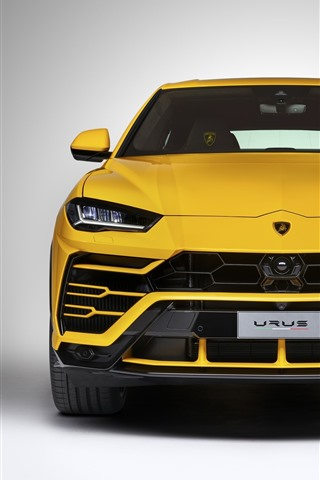 iPhone Fondos de pantalla Vista frontal del superdeportivo SUV Lamborghini Urus amarillo, faro