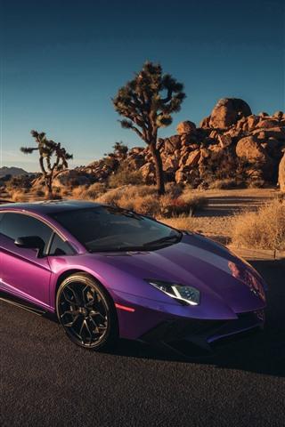 iPhone Fondos de pantalla Supercar púrpura de Lamborghini