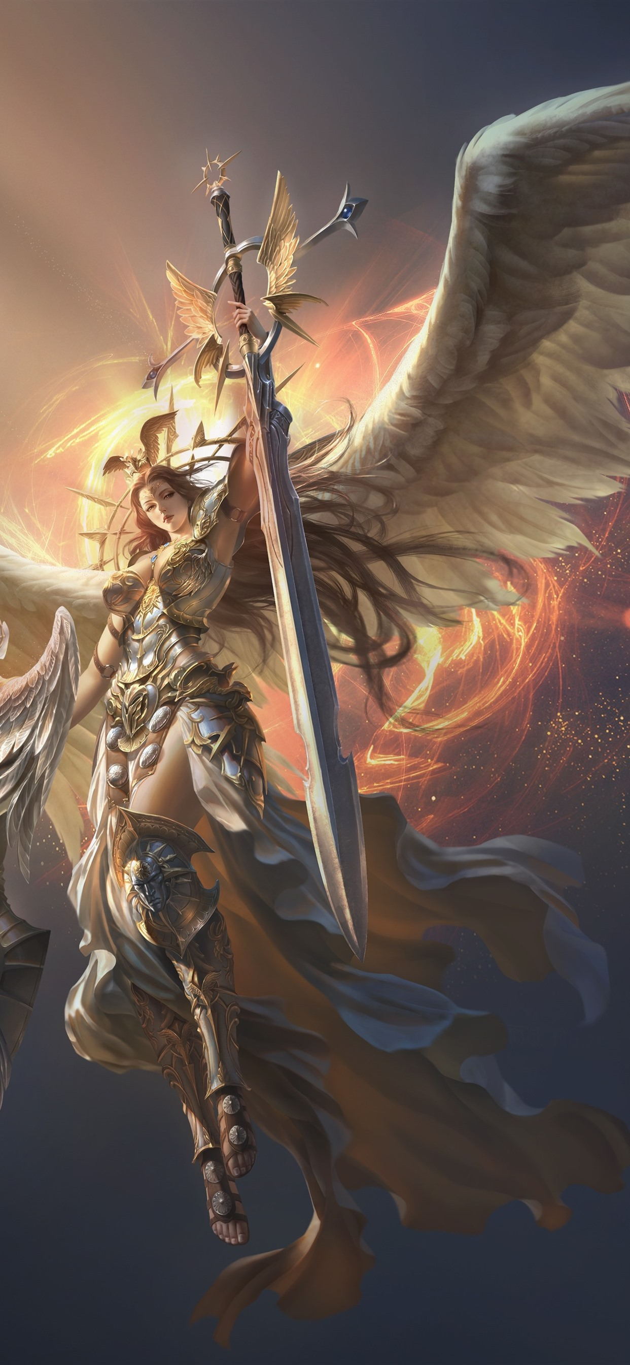 League Of Angels Beautiful Angel Wings Sword 1242x2688