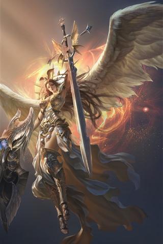 iPhone Fondos de pantalla Liga de los Ángeles, hermoso ángel, alas, espada