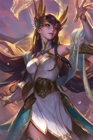iPhone Fondos de pantalla League of Legends, hermosa chica, mano, espada