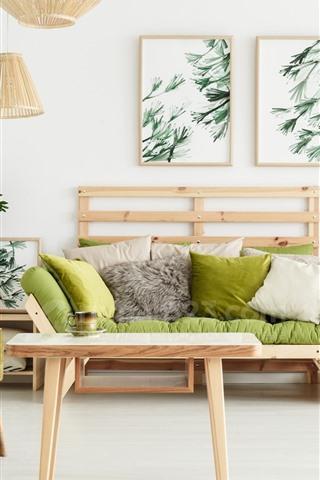 iPhone Fondos de pantalla Sala de estar, sofá, almohada, estilo simple