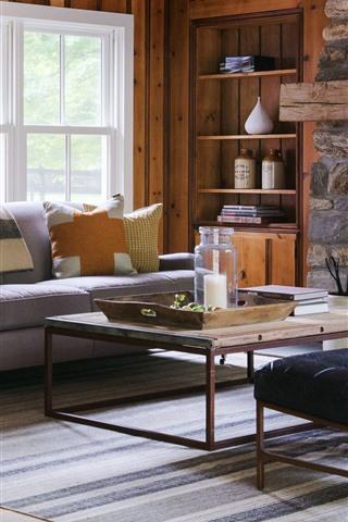 iPhone Wallpaper Living room, sofa, window, table, fireplace
