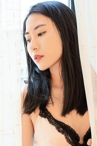 iPhone Wallpaper Long hair Asian girl, window, curtain