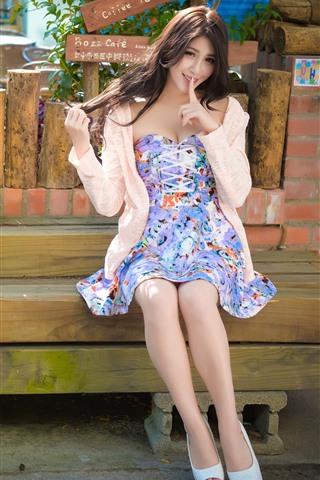 iPhone Wallpaper Lovely Taiwan girl, skirt, summer