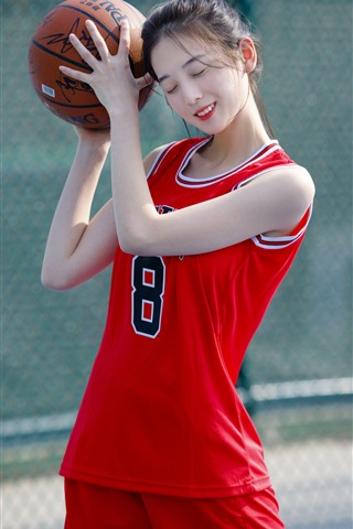 iPhone Wallpaper Lovely young girl, basketball, sport