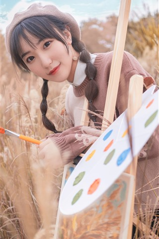 iPhone Fondos de pantalla Encantadora chica joven, pintor, Cañas