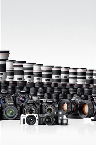 iPhone Fondos de pantalla Muchas cámaras digitales Canon y lentes