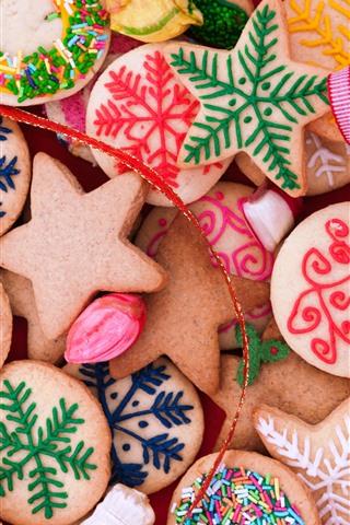 iPhone Fondos de pantalla Muchos tipos de galletas, colores, feliz navidad.