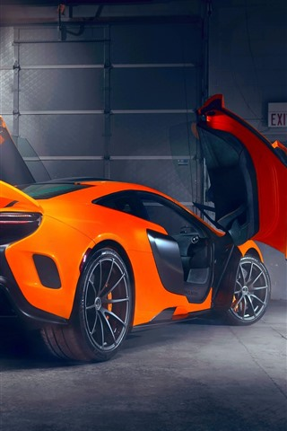 McLaren orange supercar rear view doors