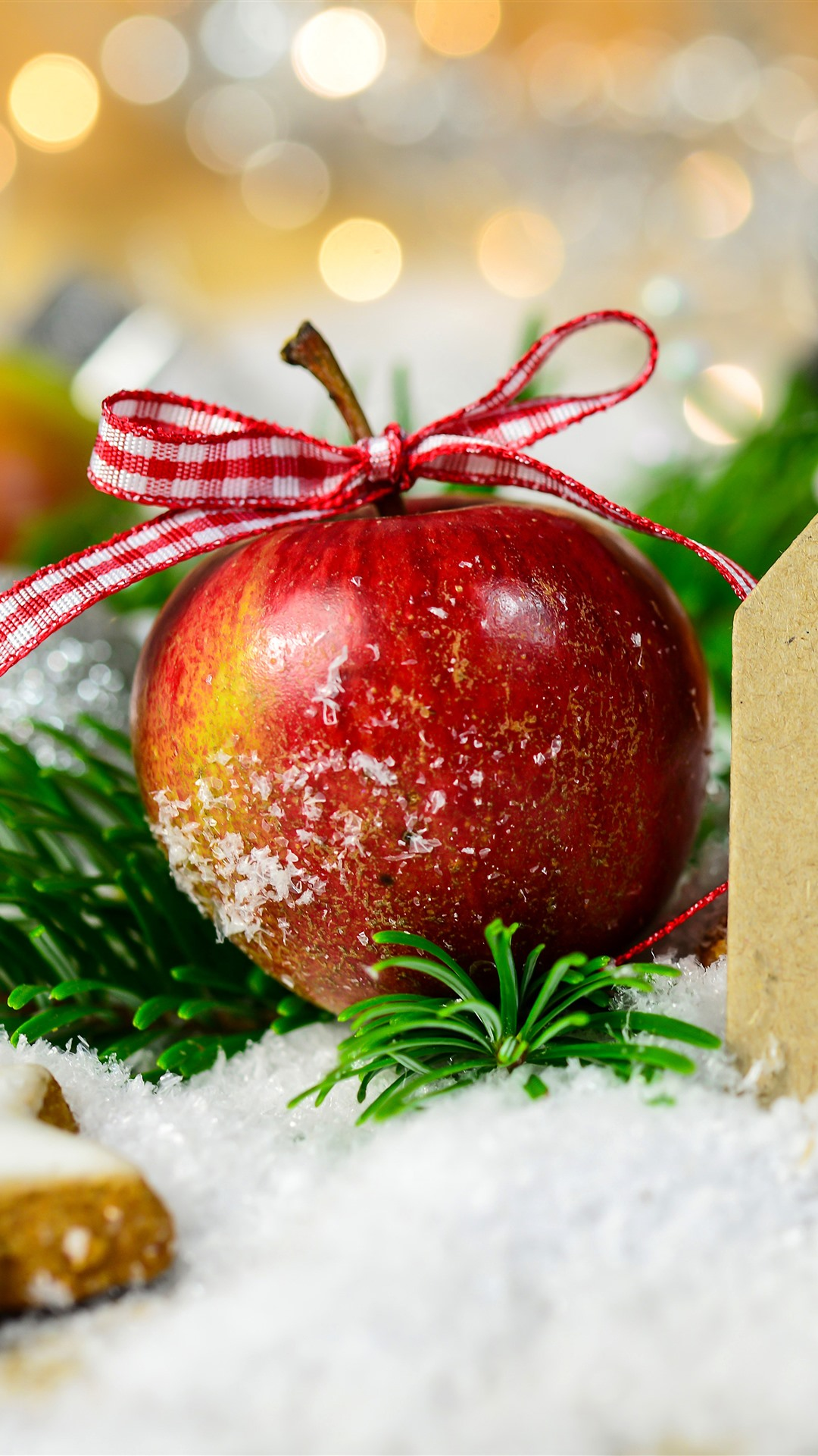 Wallpaper Merry Christmas Red Apple Star Cookies Snow