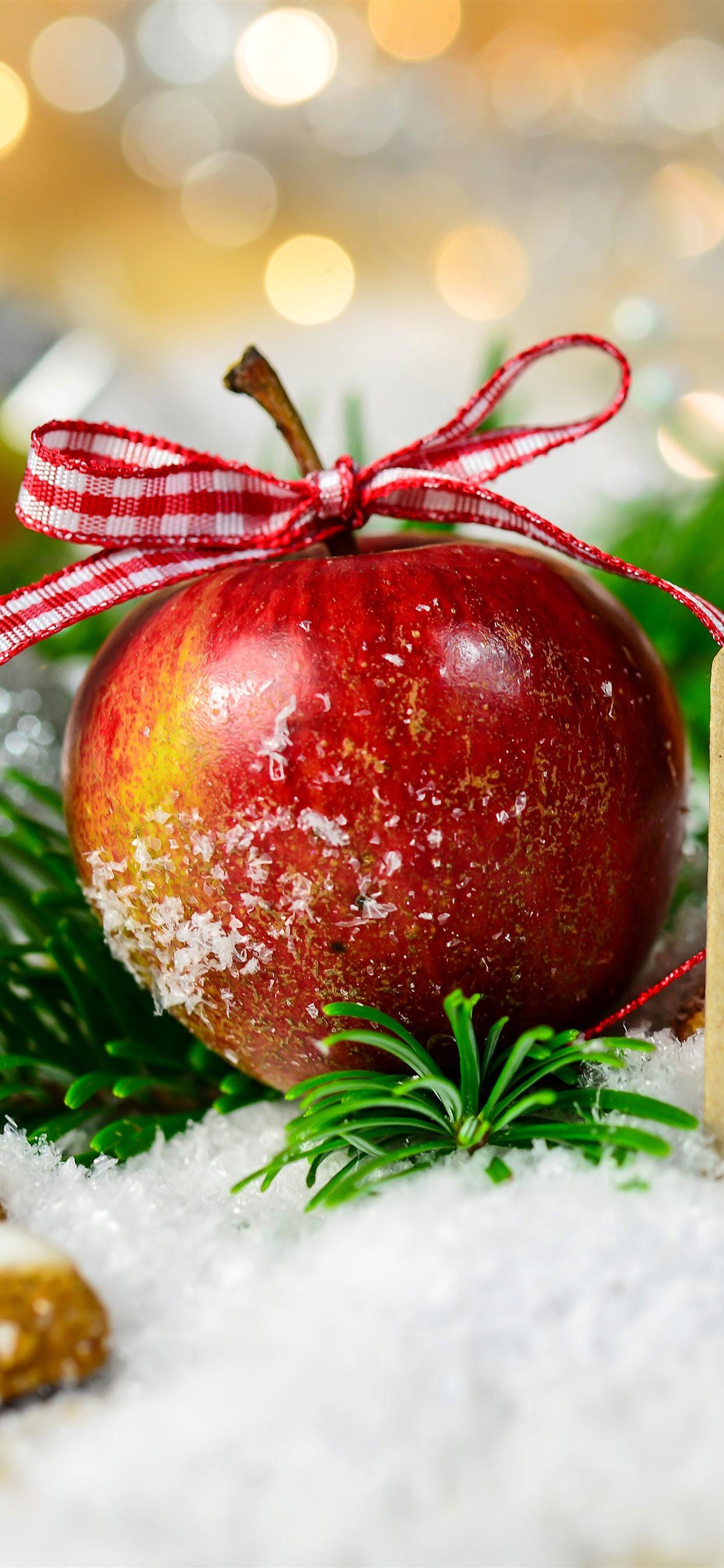 メリークリスマス 赤リンゴ スタークッキー 雪 1242x2688 Iphone 11