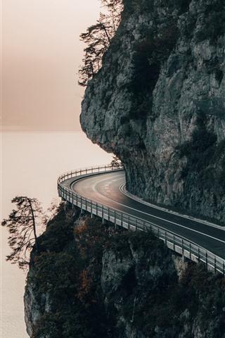 iPhone Fondos de pantalla Montaña, camino, acantilado, río
