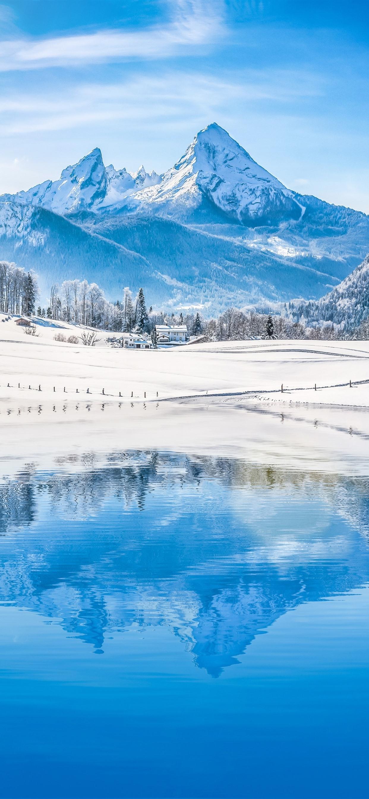 Mountains Trees Snow Lake Water Reflection Winter 1242x2688