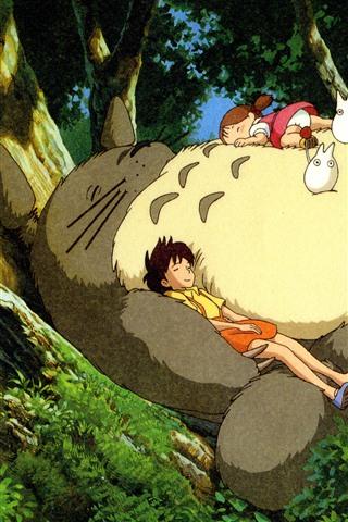 iPhone Wallpaper My Neighbor Totoro, Hayao Miyazaki, happy childhood