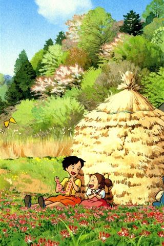 iPhone Wallpaper My Neighbor Totoro, beautiful countryside, Japanese anime