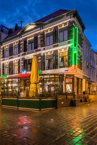 iPhone Fondos de pantalla Holanda, Nijmegen, café, ciudad, noche, luces