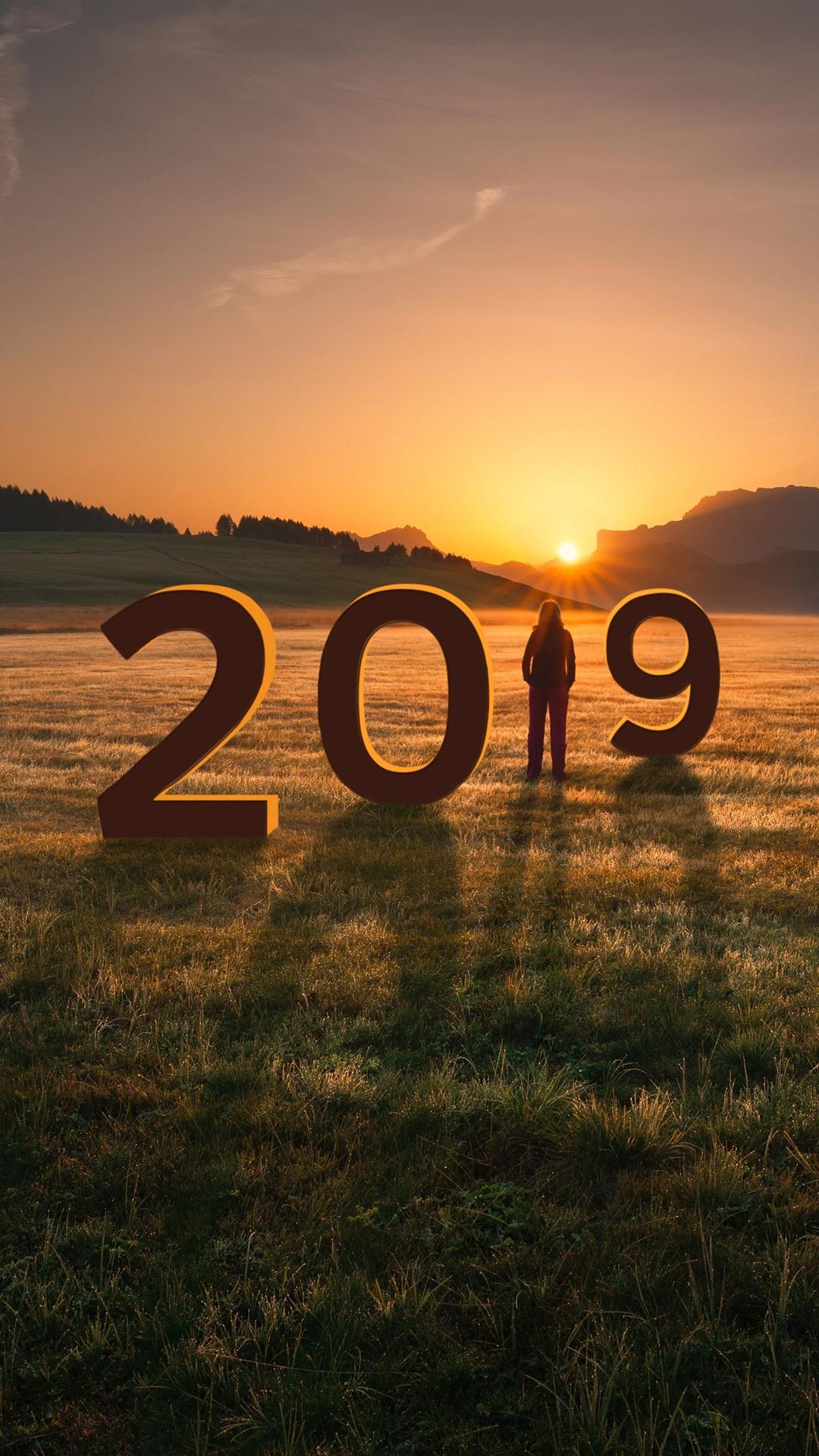 Wallpaper New Year 2019, Grass, Girl, Mountains, Sunset
