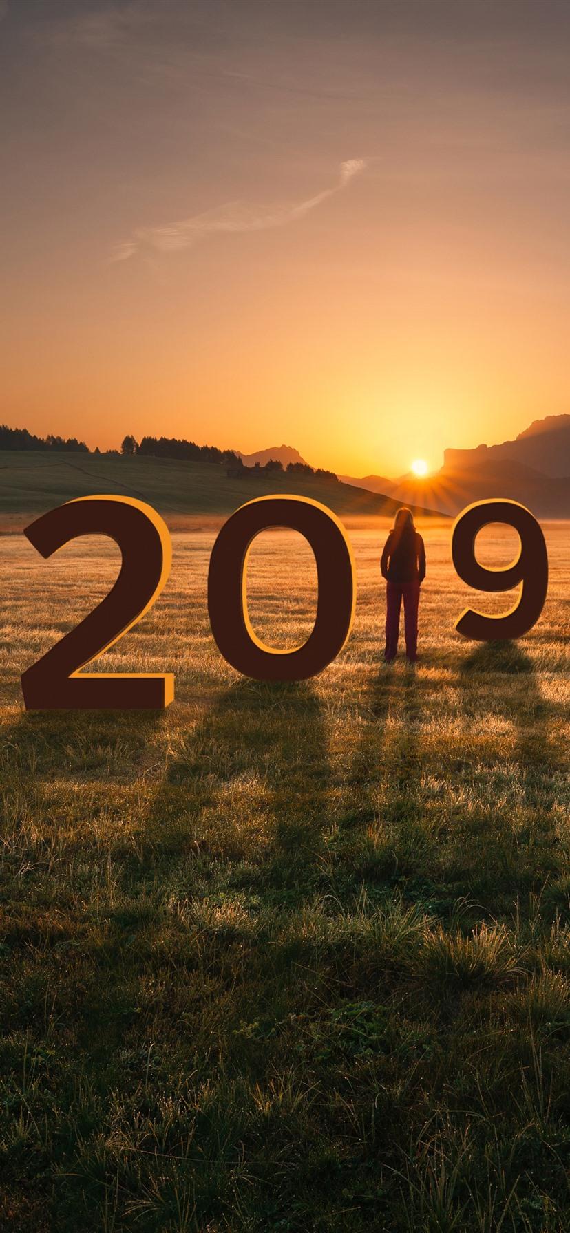 Wallpaper New Year 2019 Grass Girl Mountains Sunset