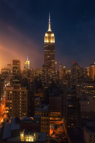 New York City Night Skyscrapers Lights Usa 750x1334 Iphone 8 7 6 6s Wallpaper Background Picture Image