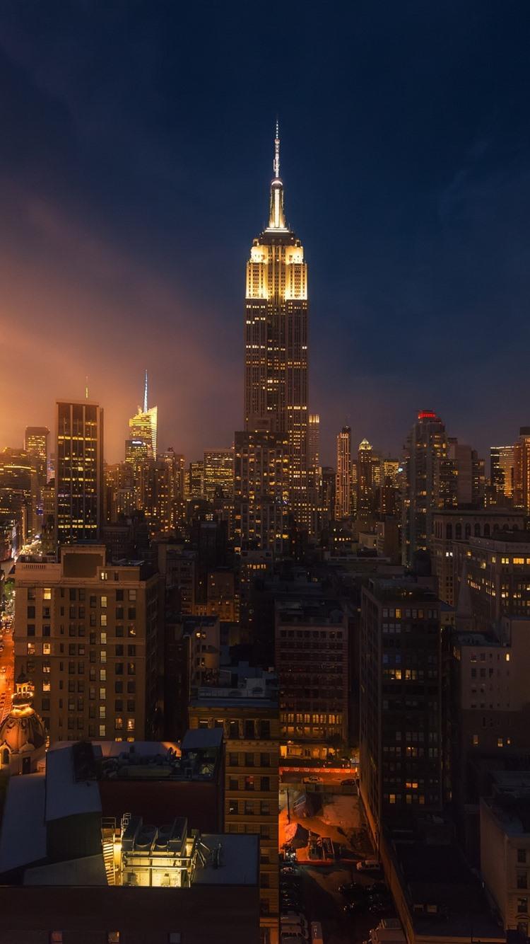 Fonds Décran New York Ville Nuit Gratte Ciel Lumières