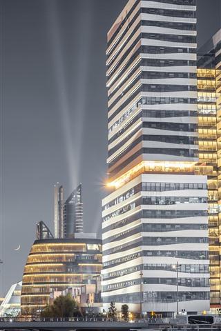 iPhone Fondos de pantalla Ningbo, China, ciudad en la noche, rascacielos, luces, torre