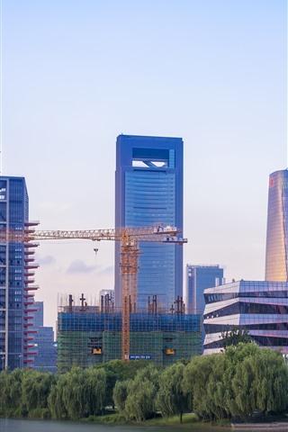 iPhone Fondos de pantalla Ningbo, China, ciudad, rascacielos, edificios, río, puente