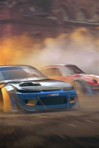 iPhone Fondos de pantalla Nissan Silvia S15 y Porsche 911, coches, velocidad, polvo