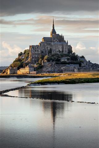 iPhone Wallpaper Normandy, France, Mont Saint Michel, river, clouds