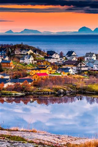 iPhone Wallpaper Norway, Lofoten Islands, beautiful village, sea, sunset