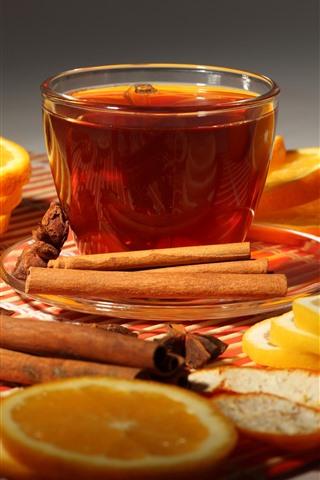 iPhone Wallpaper One cup tea, orange slice, cinnamon