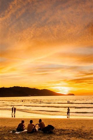 iPhone Fondos de pantalla Patong Beach, Beautiful Sunset, sea, Phuket, Tailandia