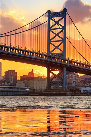 iPhone Wallpaper Philadelphia, Benjamin Franklin Bridge, river, sunset, USA