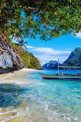 iPhone Wallpaper Philippines, beach, sea, boat, trees
