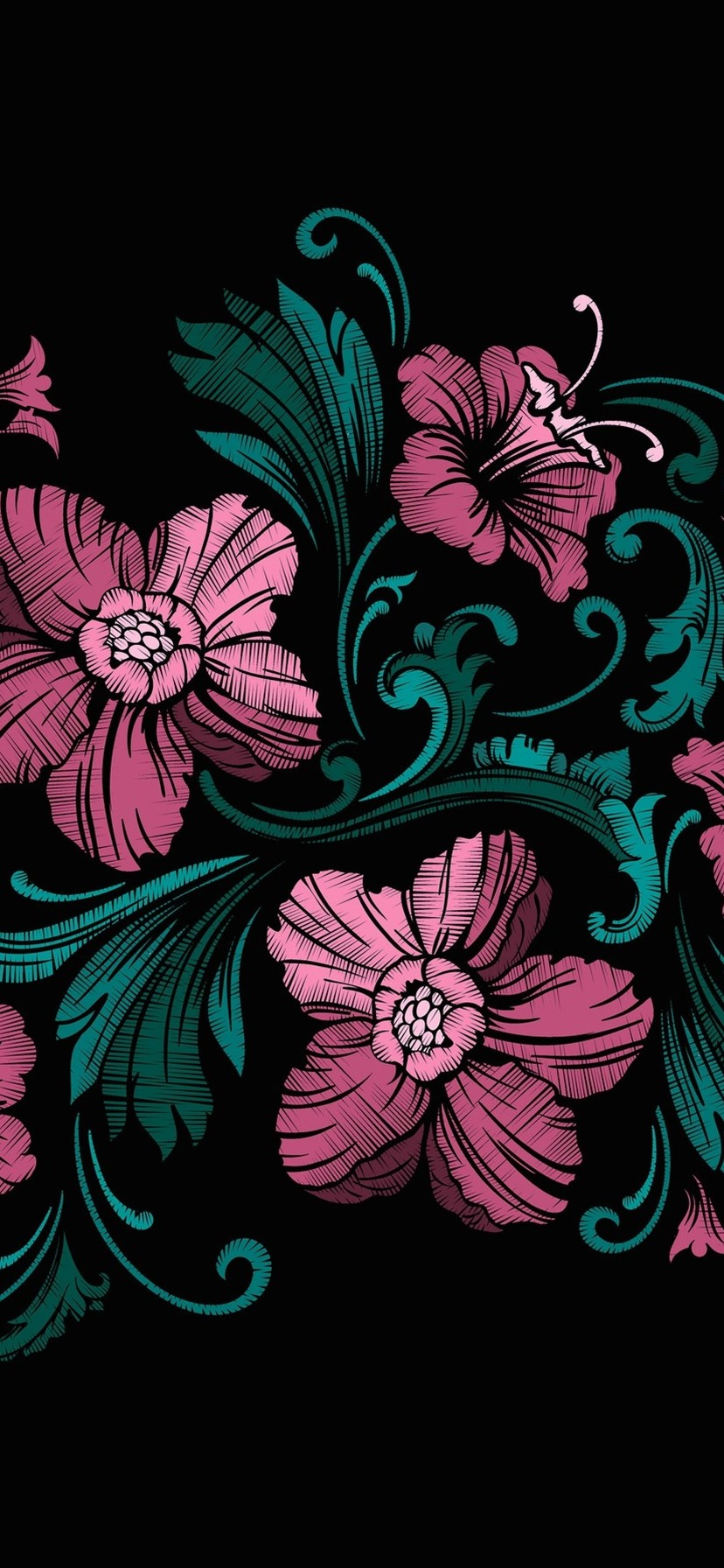 Pink Flowers Black Background Art Picture 828x1792 Iphone