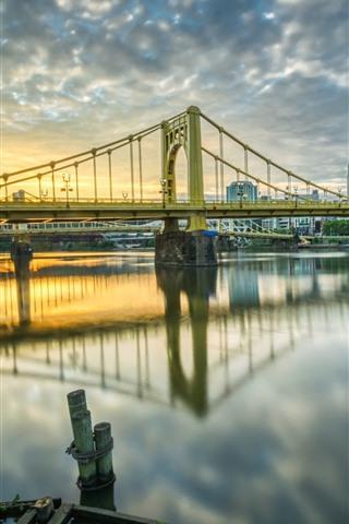 iPhone Fondos de pantalla Pittsburgh, Estados Unidos, ciudad, puente, río, edificios