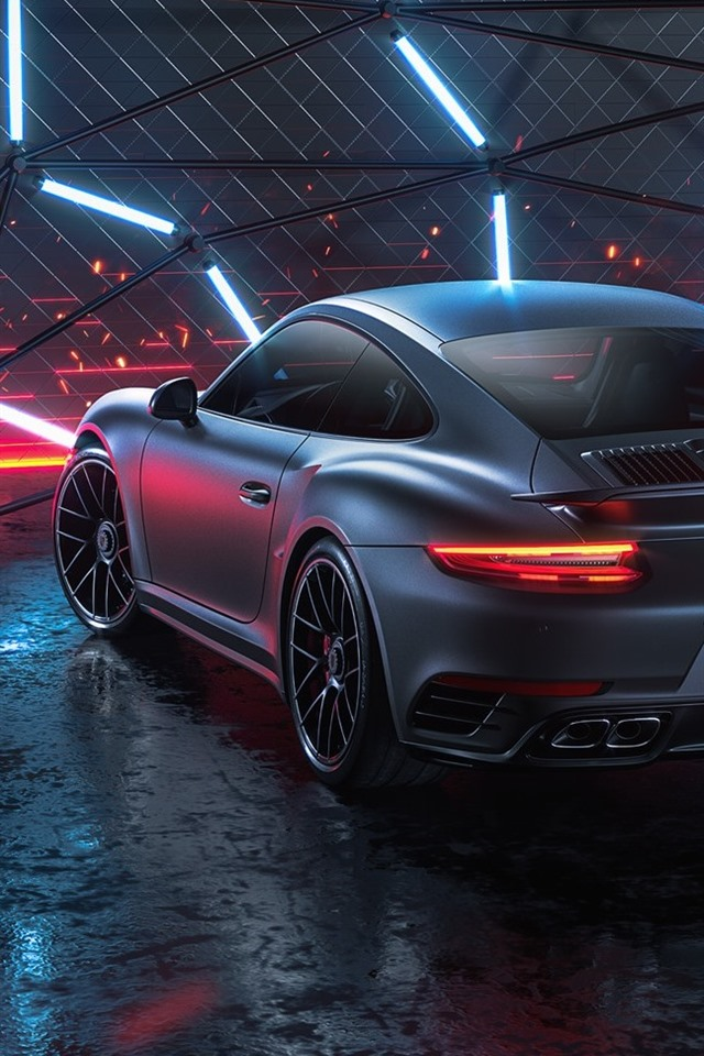 Porsche 911 Turbo S Black Car Rear View 640x960 Iphone 4 4s